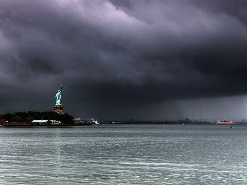 Hurricane Sandy over the Statue of Libery