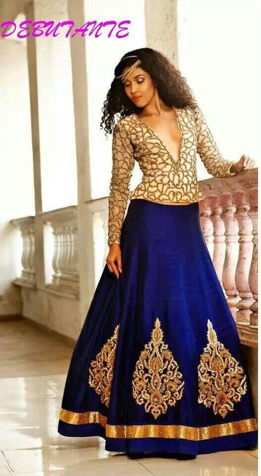 Blue silk lehenga with golden chiffon blouse