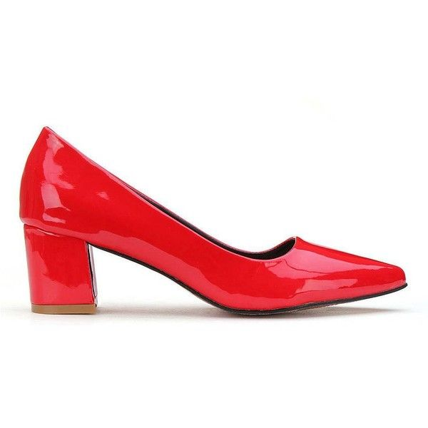 Yoins Red Heeled Shoes-Red  US 6.5/US 7/US 7.5 ($27) ❤ liked on Polyvore featuring shoes, pumps, red, red court shoes, court shoes, red wing shoes, red shiny shoes and women shoes