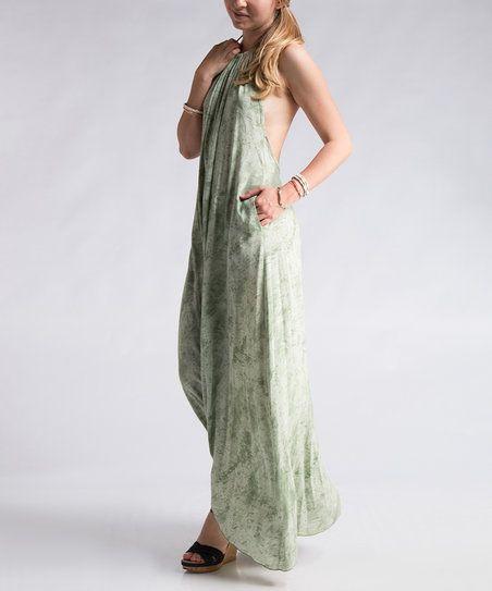Fashionomics Sage Tie-Dye Halter Maxi Dress | zulily