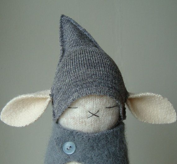 Oatmeal Lambswool Bunny In Gray Get Up by FierceBunnies on Etsy, $52.00