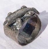 Napkin Ring Australian Gekko Sirling Silver Hand Carved -Lost wax process