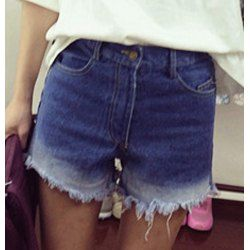 High waisted colored denim shorts