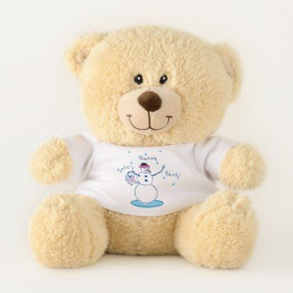 Snowlady Skating Party Small Teddy Bear - diy cyo customize create your own #personalize