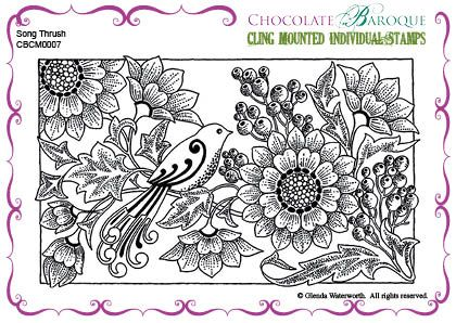 "Song Thrush cling mounted rubber stamp from Chocolate Baroque Size 132mm x 83mm (5.25"" x 3.25"")"