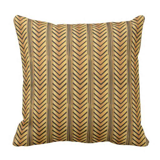 Gold Chevron Arrow Lines Boho Tribal Style Pillow