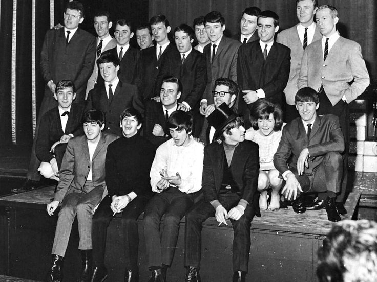 The Beatles Christmas Show, The Hammersmith Odeon, London 24 December 1964 - 16 January 1965 The back row consists of Fourmost members, Dakotas and Barron KnightsCentre row: Fourmost member, Tommy Quickly, Billy J Kramer, Rolf Harris, Cilla Black, Fourmost member