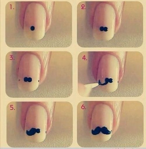 Step by step mustache nail art.