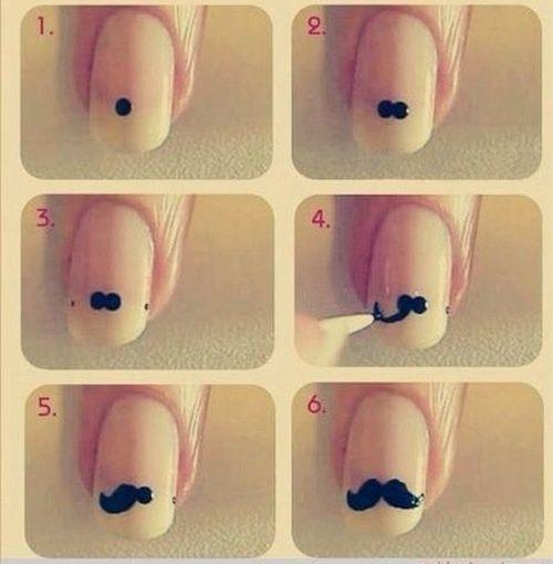 Easy Nail Art Designs Mustache
