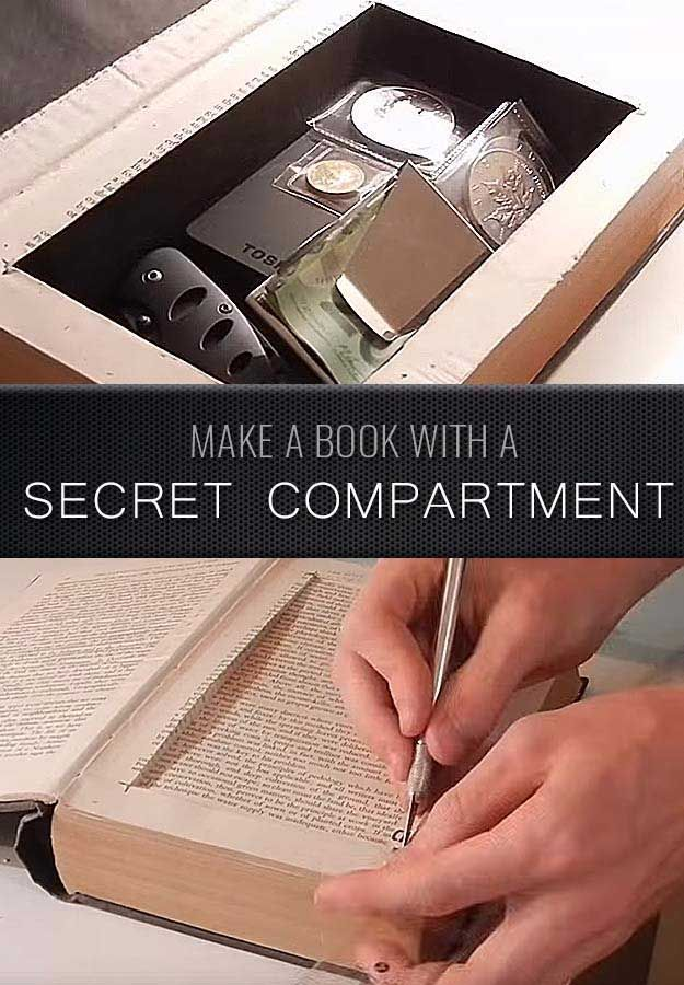 Awesome  Crafts for Men and Manly DIY Project Ideas Guys Love - Fun Gifts, Manly Decor, Games and Gear. Tutorials for Creative Projects to Make This Weekend | Make a Book with a Secret Compartment  |  http://diyjoy.com/diy-projects-for-men-crafts