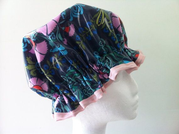 Shower Cap Laminated Cotton.Handmade. Amy Butler fabric made by PureHaven, $22.99