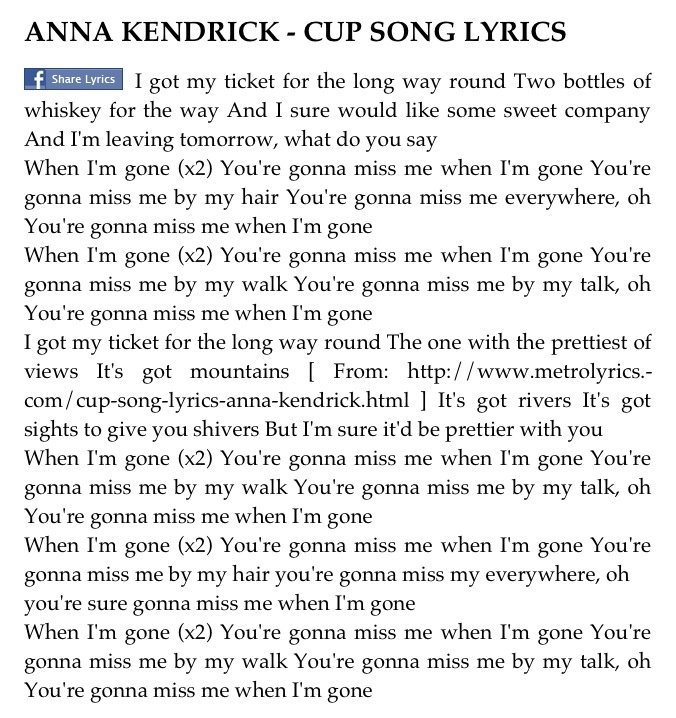 Anna Kendrick – Cups (Pop Version) Lyrics   Genius Lyrics