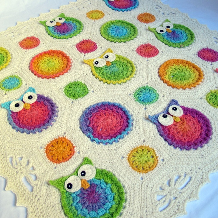 Free Crochet Pattern For Owl Baby Blanket : CROCHET PATTERN - Owl Obsession - a colorful owl afghan ...