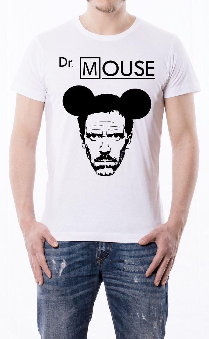 T-Shirt uomo con frase: Dr Mouse Maglietta bianca con stampa digitale diretta, grafica stampa un colore: Nero.