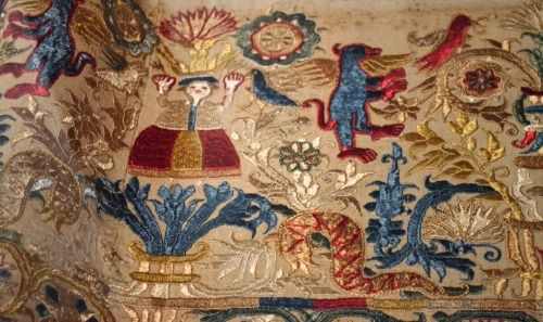 Embroidered hemline with floral patterns, figures and animals. Linen with silk.From Crete. The Benaki Museum. (17th-18th century).