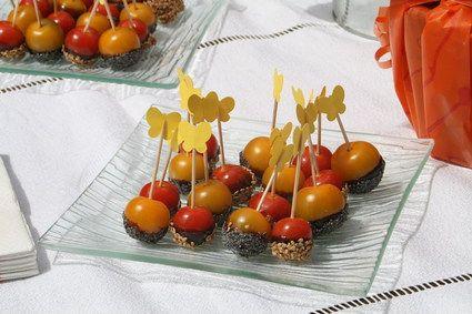 Tomates cerises caramélisées aux graines