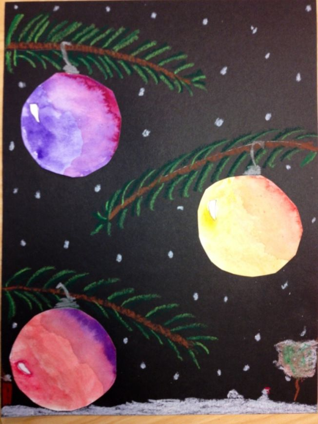 Quick art Christmas project! Oil pastes and water color paints.