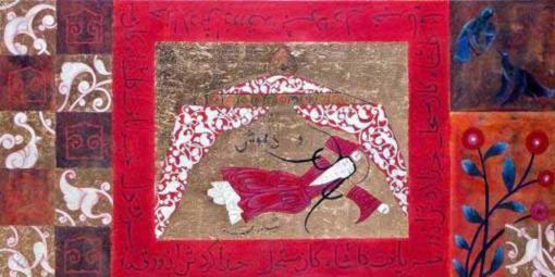 Resim 125: Bir Aşk Hikayesi – Varka ile Gülşah, 12.10.2001 (Günseli Kato Arşivi) Özgün minyatürde Gülşah'ın ölümünü gösteren sahneden uyarlanan resim.