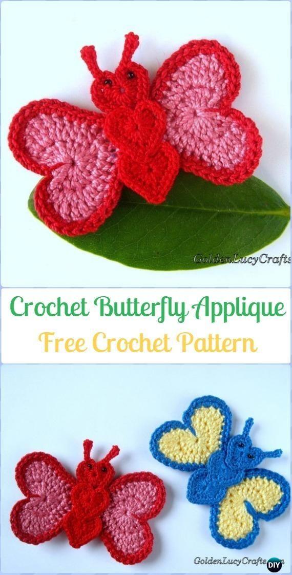 Crochet Butterfly Applique Free Pattern - Crochet Heart Shaped Applique Free Patterns By Golden Lucy Crafts