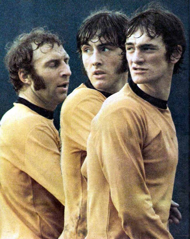 1971/72. Wolves trio Mike Bailey, John Richards and Kenny Hibbitt trying line up their wall for a free kick.
