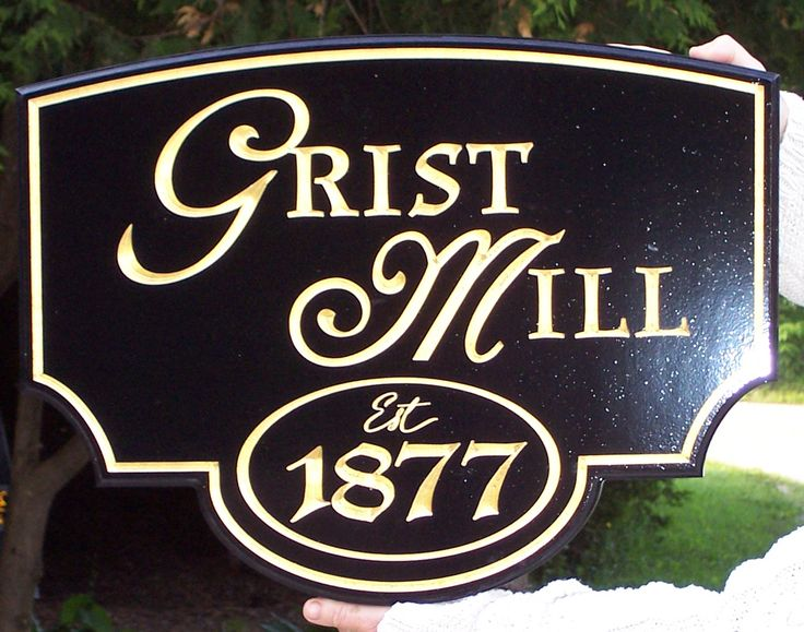 This is a sign that we did for the Kimberley Grist Mill.  Computer carved HDU - gold leaf laid by hand.