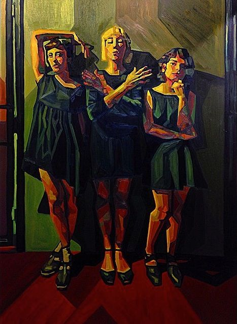 Echo Park Muses by Paige Emery#threemuses #fauvism #futurism #cubism #color #oilpainting #figure #Painting #shapes
