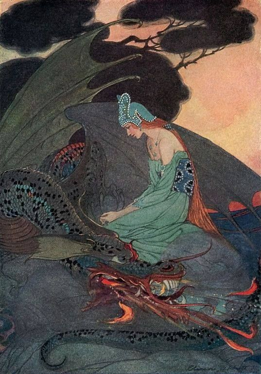 "The Princess and Dragon, from ""Two Brothers,"" in Grimm's Fairy Tales, illustrated by Elenore Abbott"