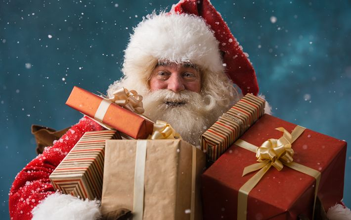 Download wallpapers Santa Claus, gifts, 2018, Happy New Year, winter, snow