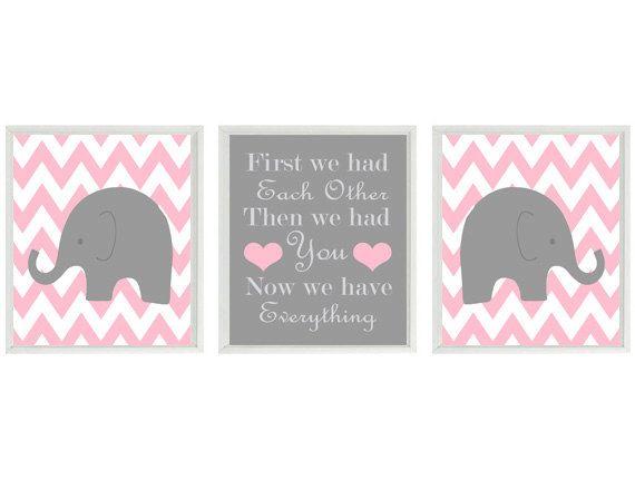 Elephant Nursery Art Print Set Chevron Pink by RizzleandRugee