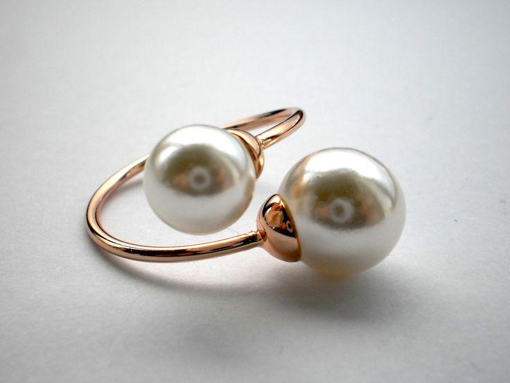 Rose Gold Swarovski Crystal Pearl Ring size Q/8.5 €30.00
