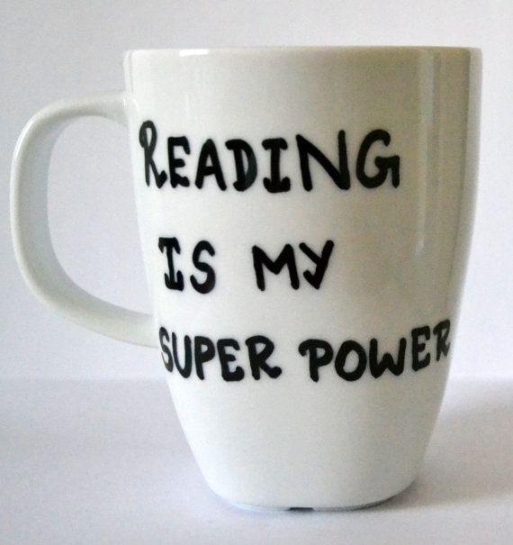 Lezing Is mijn supermacht koffiemok - literaire mok - boek minnaar cadeau - Reserveer Nerd - Geek Gift 10 oz