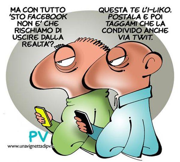 """ITALIAN COMICS: Gli inganni dei Social Network: """"dame un basin, bel toso""""…(Testo:Romano Garofalo, vignetta:PV - Pietro Vanessi)"""