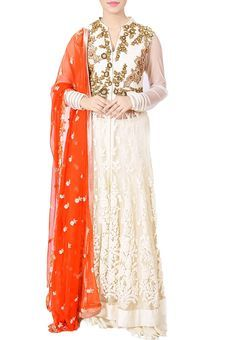 Ivory Sequins & Thread Embroidered Knee Length Jacket & Orange Dupatta Set by Anju Agarwal, Lehengas #ethnic #festive #lehenga #wedding #indianwedding #gown #anarkali #ethnicgown