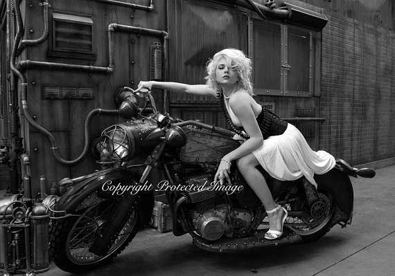 Rat Bike Motorcycle Industrial Steampunk photo printed on