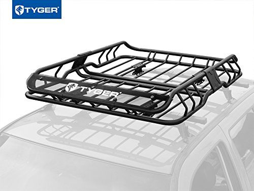 TYGER Heavy Duty Roof Mounted Cargo Basket Rack  L47 x W37 x H6  Roof Top Luggage Carrier  With Wind Fairing *** You can get additional details at the image link.