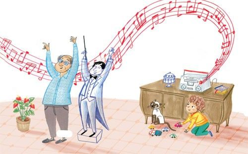 Mirella Mariani Illustration - mirella, mariani, mirella mariani, photoshop, hand drawn, crayon , educational, commercial, picture books, people, child, person, man, grandad, grandpa, boy, cat, flowers, music, radio, YA, young reader