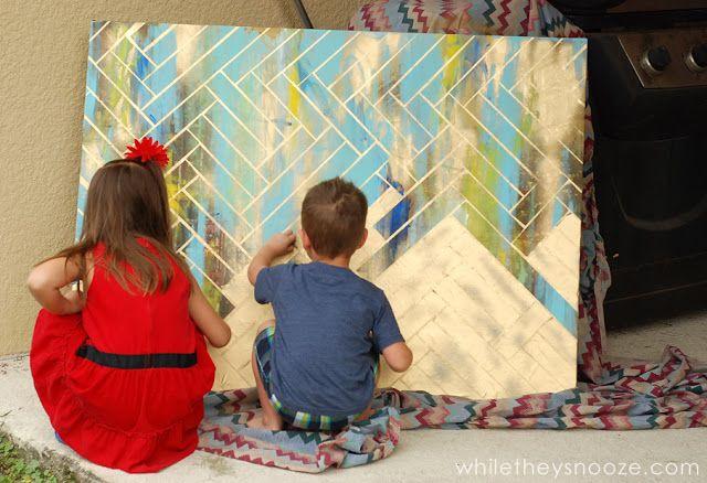 DIY Herringbone Metallic Artwork = any canvas + tape + left over paint + metallic paint