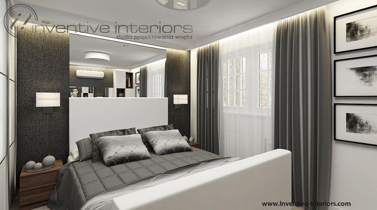 Projekt sypialni Inventive Interiors - ciemna szarość w sypialni w połączeniu z nastrojowym oświetleniem tworzą ciekawą aranżację