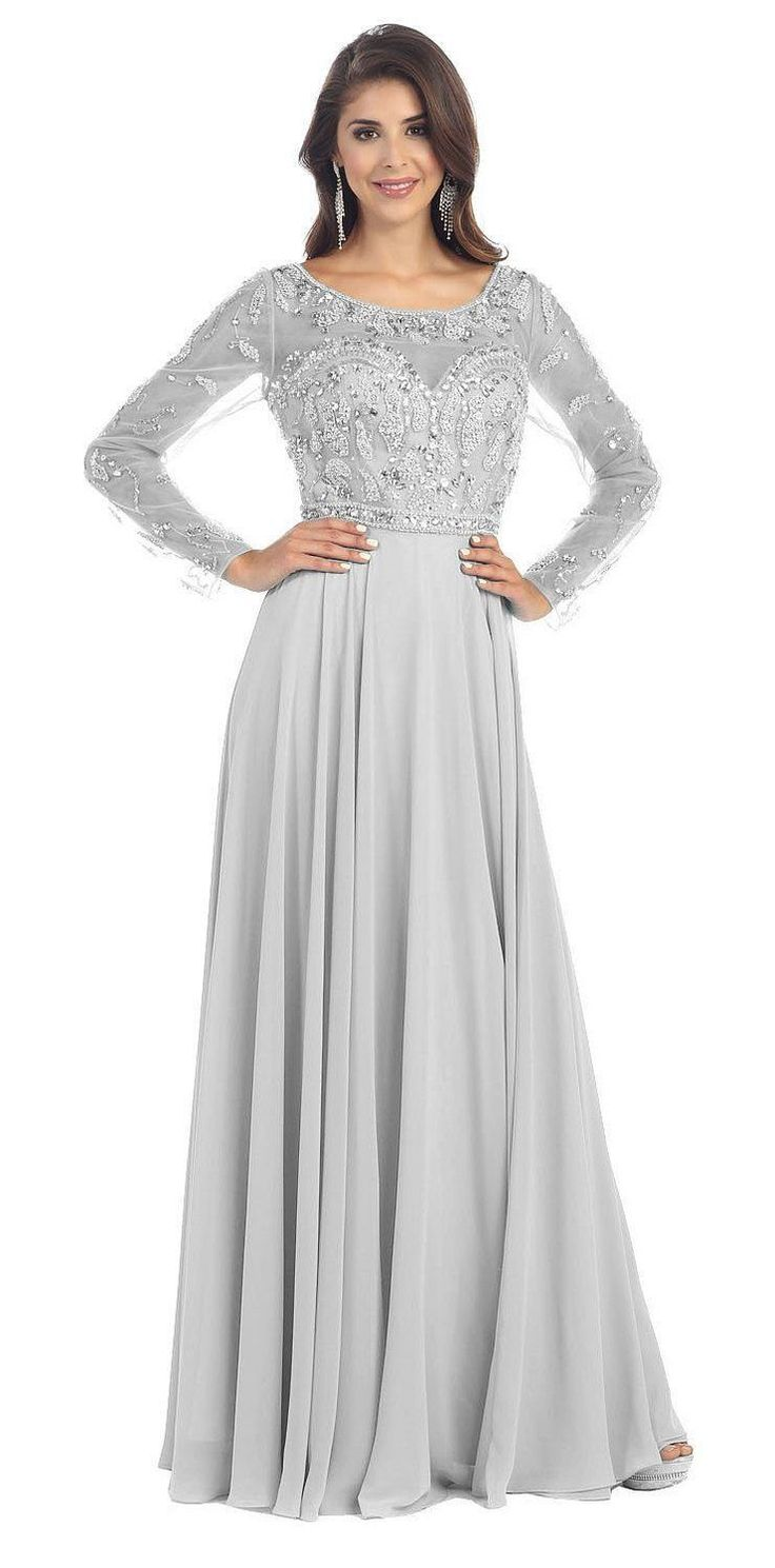 Long Sleeve Formal Long Plus Size Gown Beaded