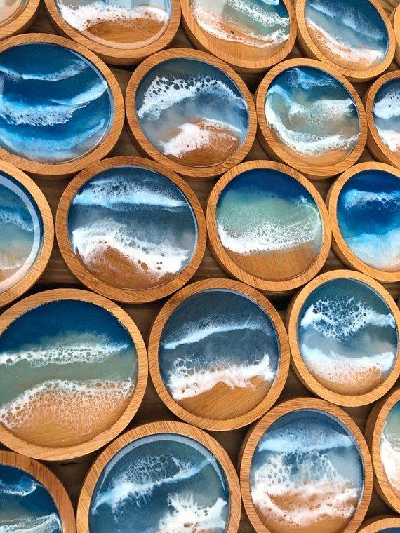 Ocean waves bamboo beach coasters epoxy resin handmade art