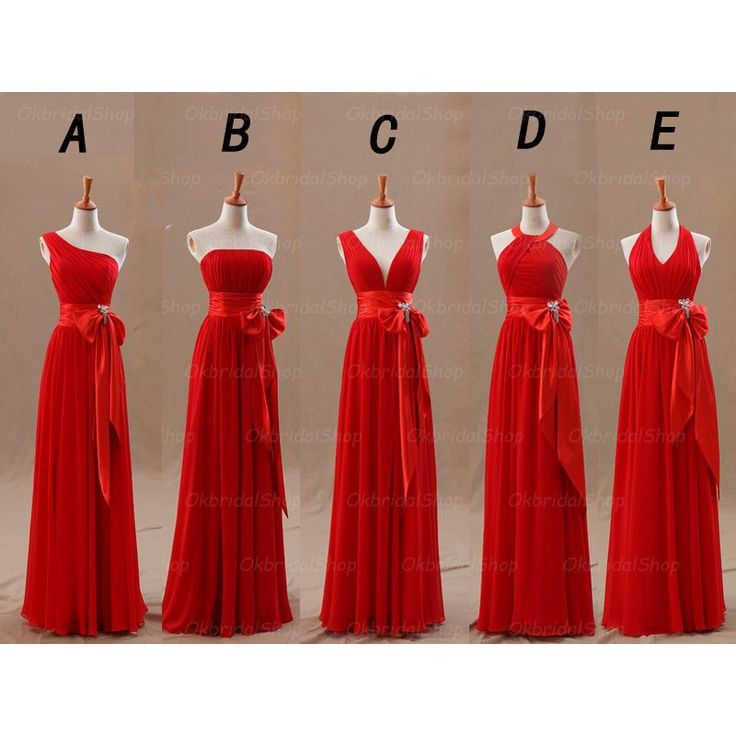 Red Bridesmaid Dresses Mismatched Chiffon Inexpensive