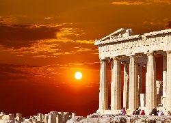 Partenon, Zachód Słońca, Ateny, Grecja