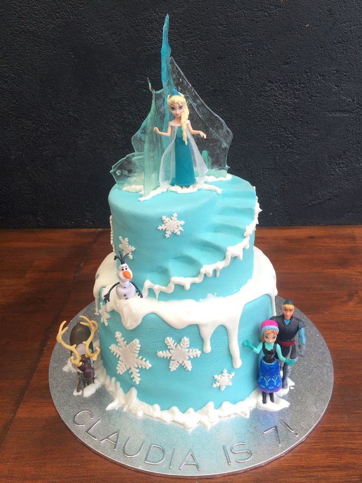 Frozen Cake 2 tiered cake with fondant - $250 Sugar Ice Castle-$20 Plastic Frozen figurines -$20 per set. Total - $290