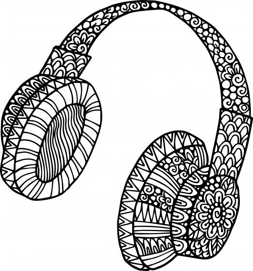 headphone doodle coloring adult coloring pages musiccoloring booksfree