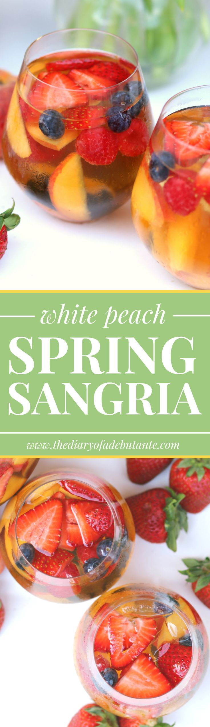 Delicious berry and white peach spring sangria with Wente Chardonnay and St. Germaine liqueur. Seriously so yummy!