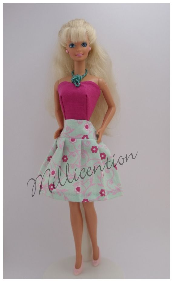 Pink and mint Barbie doll top & skirt