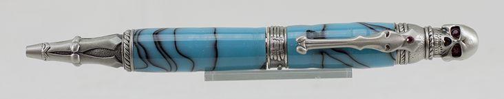 Skull Antique Pewter Twist Pen - Power Blue