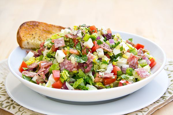 Italian Chopped Salad with Fresh Mozzarella and Salami In Herbed Red Wine Vinaigrette - low carb - leave out the bread
