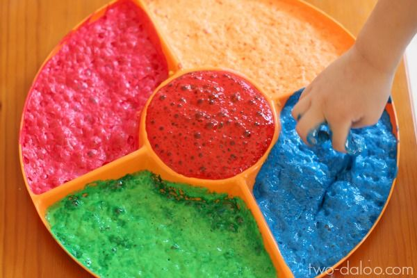 Make magical scented foaming paint in your activity tray using just paint and Kool-Aid.