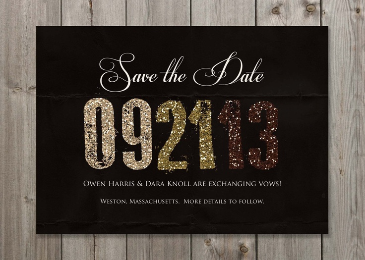 PRINTABLE Chocolate Sparkles Save the Date Wedding Announcement 5X7 Digital File. $12.00, via Etsy.